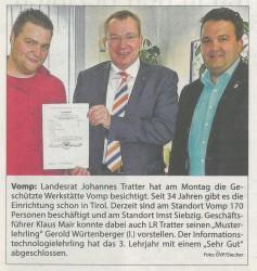 Besuch von Landesrat Johannes Tratter in der GW Tirol