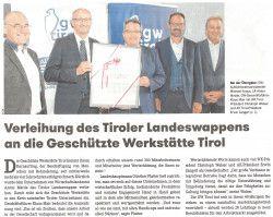 Verleihung des Tiroler Landeswappens an die GW Tirol